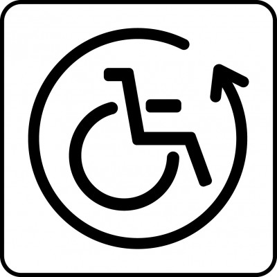 Symbol of assistive device lending.