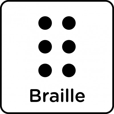 Symbol of braille, with English text.