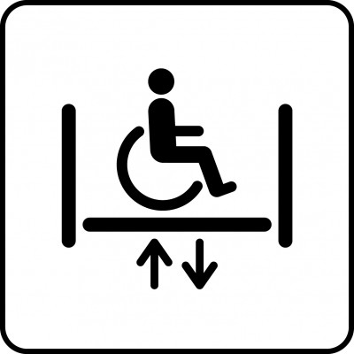 Symbol of wheelchair lift.
